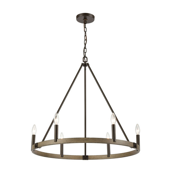 Transitions Oil Rubbed Bronze and Aspen Six-Light Chandelier, image 1