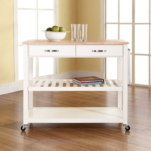 Natural Wood Top Kitchen Cart/Island With Optional Stool Storage in White Finish, image 4