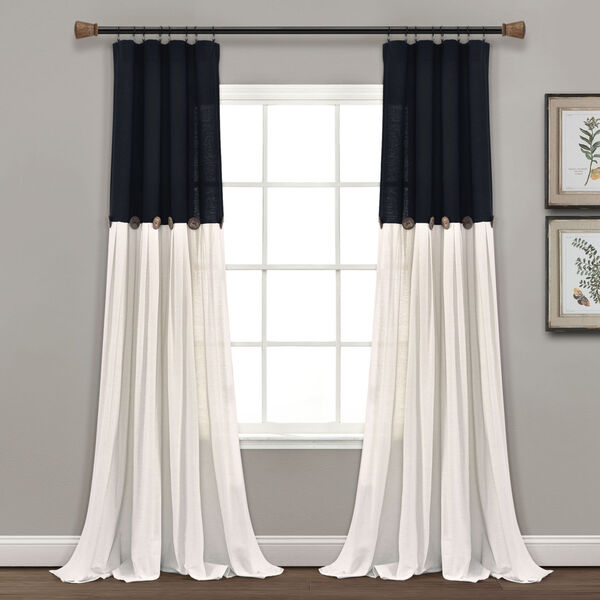Linen Button Black and White 40 x 95 In. Single Window Curtain Panel, image 1