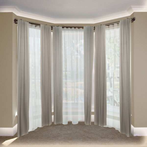 Leanette Cocoa 108-Inch Bay Window Double Curtain Rod, image 2