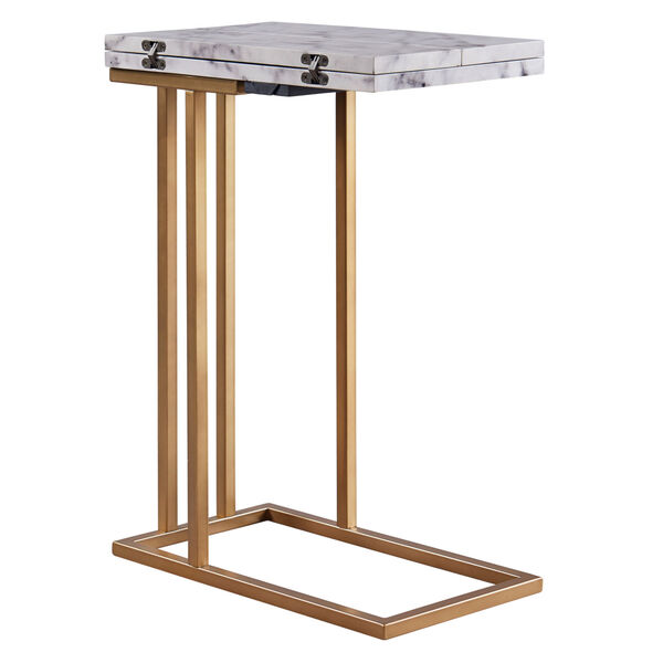 Marmo Faux Marble and Brass C Shape Extension Table with Faux Marble Top, image 6