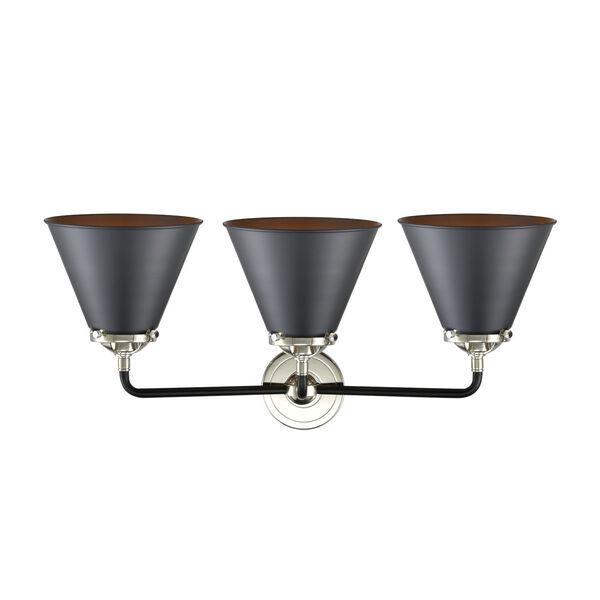 Nouveau Matte Black Polished Nickel Three-Light LED Bath Vanity, image 2