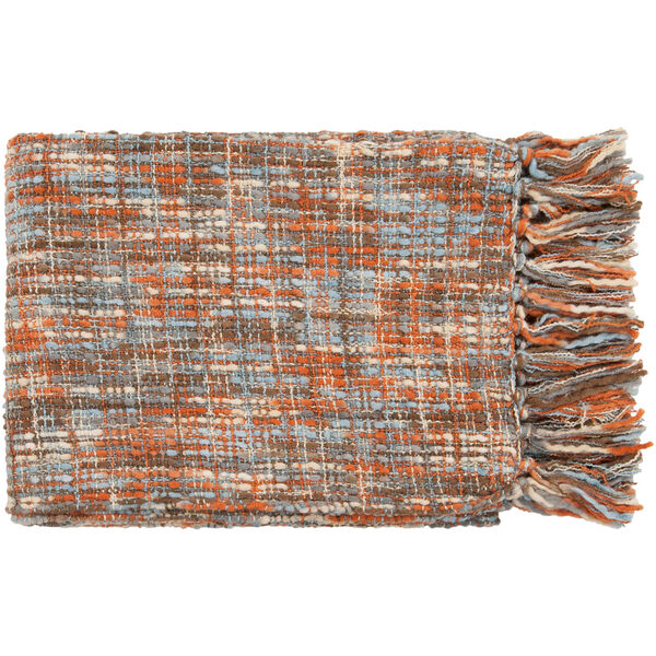 Tabitha Rust and Light Blue Mixed Woven Throw, image 1
