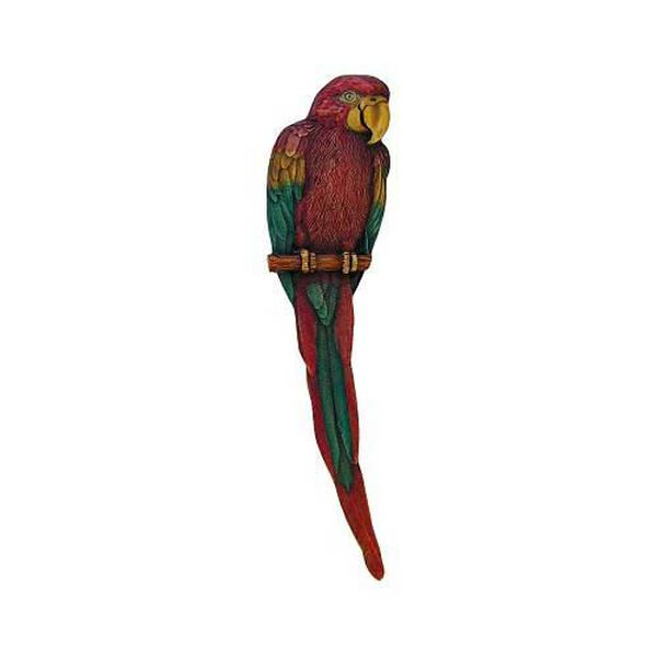 Hand Tinted Brass Parrot Pull-Left, image 1
