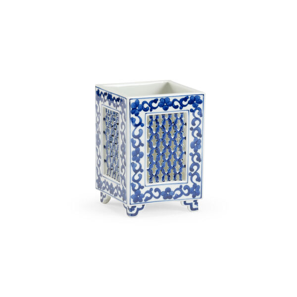 Blue and White Four-Inch Pierced Vase, image 1