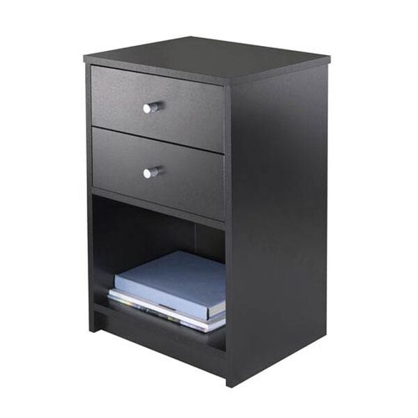 Ava Accent Table with Two Drawers in Black Finish, image 3