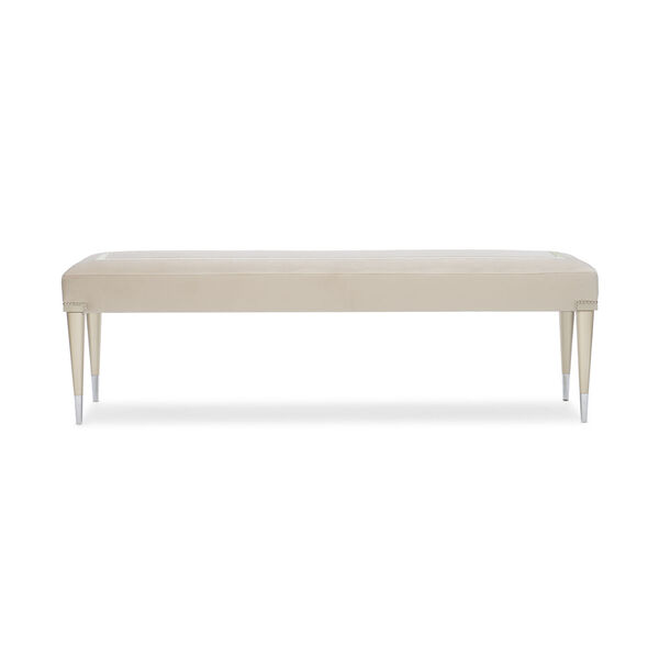 Caracole Classic Soft Silver Paint and Beige Boarding on Beautiful Bench, image 4
