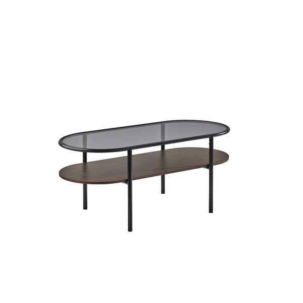 Gavin Black and Walnut Two-Tiered Coffee Table, image 1