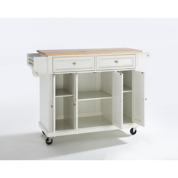 Natural Wood Top Kitchen Cart/Island in White Finish, image 1