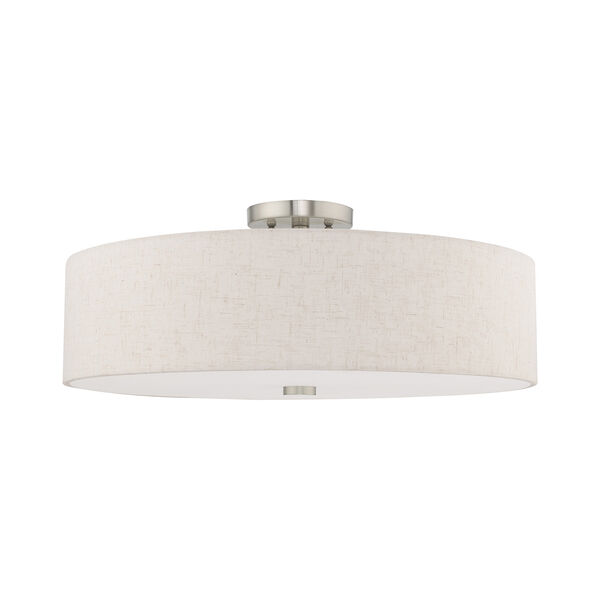 Meridian Brushed Nickel 22-Inch Five-Light Ceiling Mount with Hand Crafted Oatmeal Hardback Shade, image 2