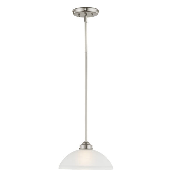 Somerset Brushed Nickel One-Light 11-Inch Pendant with Satin Glass, image 1