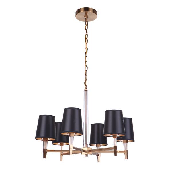 Tarryn Satin Brass Six-Light Chandelier, image 4