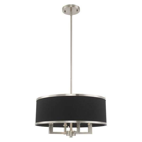 Park Ridge Brushed Nickel 18-Inch Four-Light Pendant Chandelier with Hand Crafted Black Hardback Shade, image 3