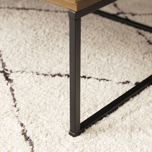 Jean Barnwood and Black Coffee Table with One Drawer, image 5