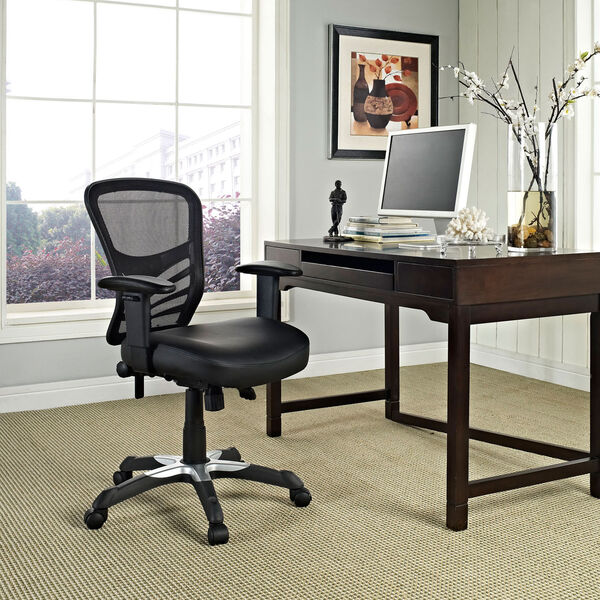 Articulate Vinyl Office Chair in Black, image 1