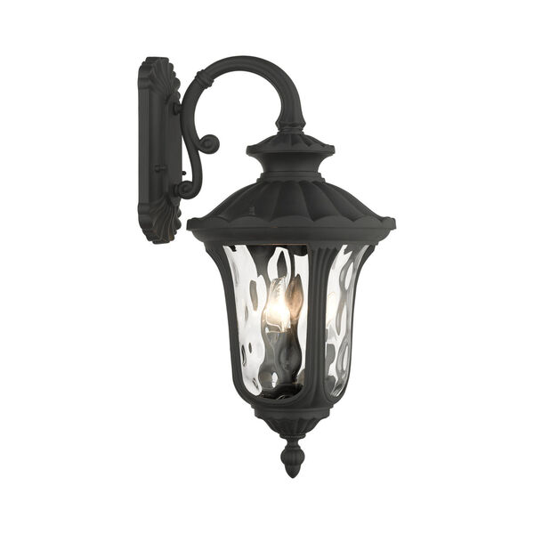 Oxford Textured Black 11-Inch Three-Light Outdoor Down Light Wall Lantern, image 6