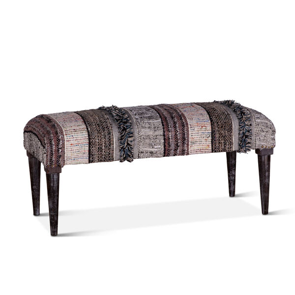 Algiers Gray and Black Accent Bench, image 2