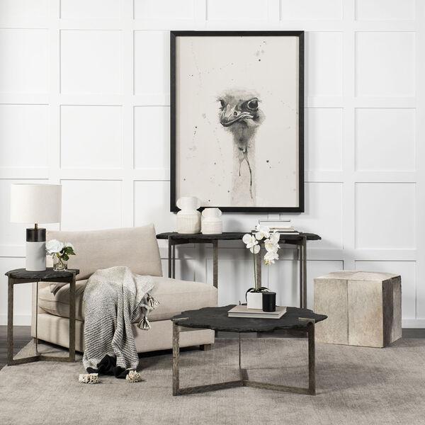 Shale II Black Irregular Live-Edge Slate Coffee Table with Flat Iron Base, image 3