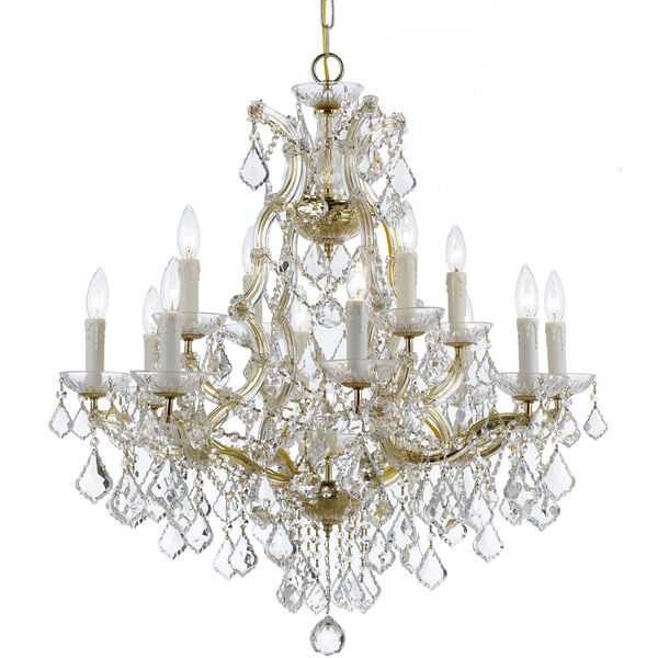Maria Theresa Gold Thirteen Light Chandelier with Clear Italian Crystal, image 1