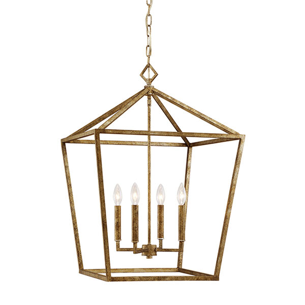 Vintage Gold 20-Inch Four-Light Pendant, image 1