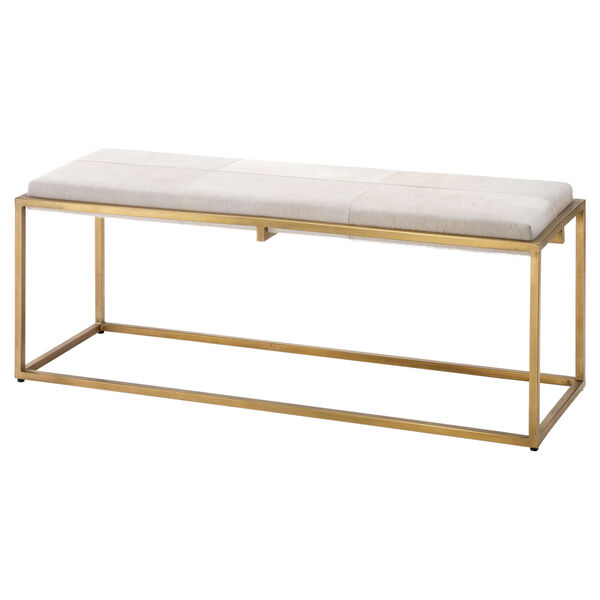 Shelby White Antique Brass Bench, image 1