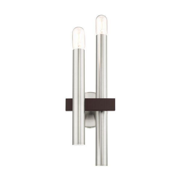 Helsinki Brushed Nickel and Bronze Two-Light Wall Sconce, image 5
