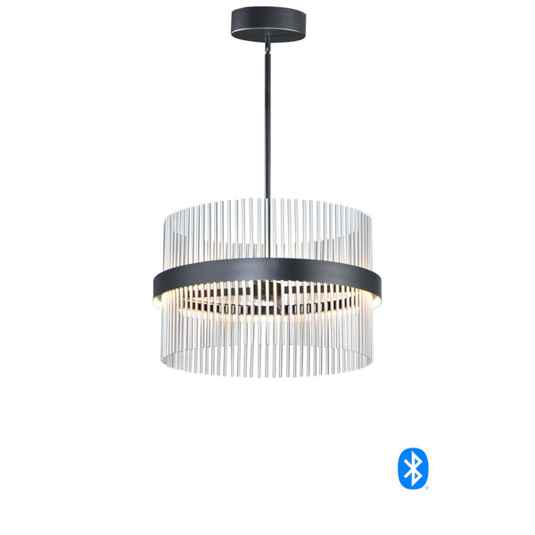 Chimes Black and Satin Nickel 24-Inch LED Smart Home Pendant, image 1