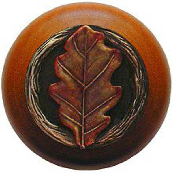 Cherry Wood with Hand Tinted Brass Oak Leaf Knob, image 1