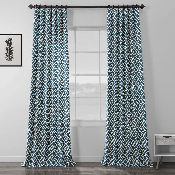 Navy Blue 120 x 50 In. Printed Cotton Twill Curtain Single Panel, image 1