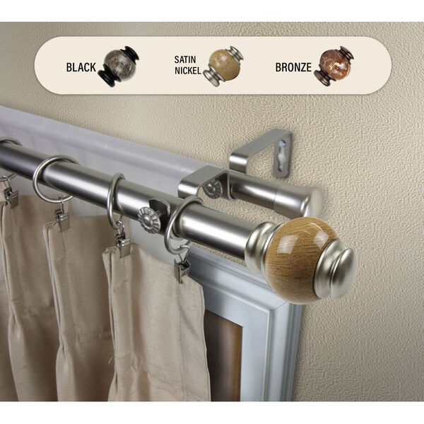 Satin Nickel 48-Inch Marble Double Curtain Rod, image 2