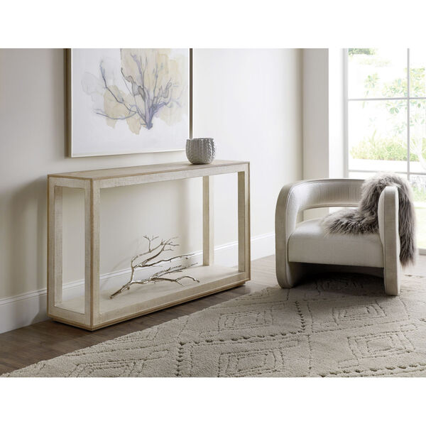Cascade Taupe 58-Inch Laquered Burlap Console Table, image 3