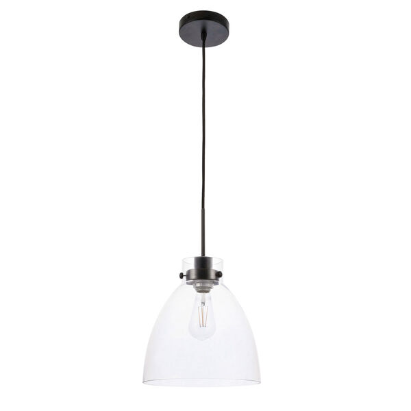Frey Black 11-Inch One-Light Pendant with Clear Glass, image 3