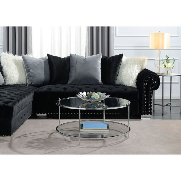 Royal Crest 2 Tier Round Glass Coffee Table in Clear Glass and Chrome Frame, image 4