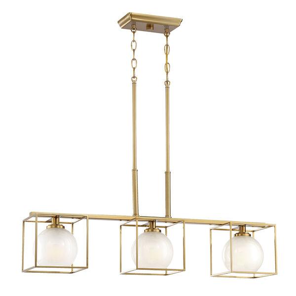 Cowen Brushed Gold Three-Light Chandelier, image 1