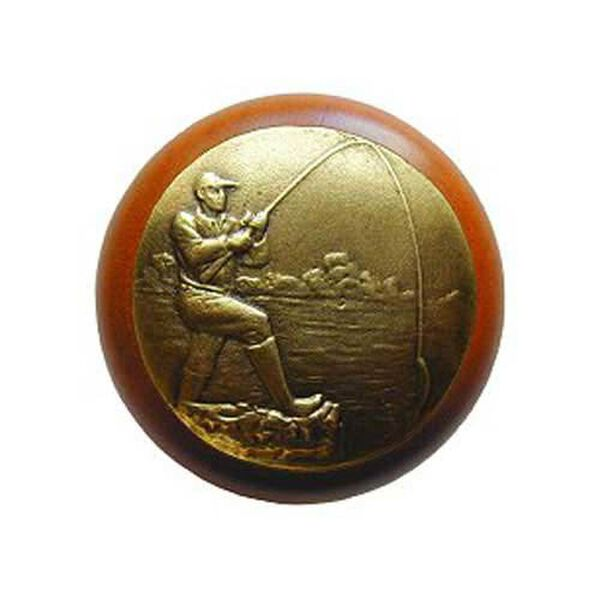 Cherry Wood Catch Of The Day Knob with Brass, image 1