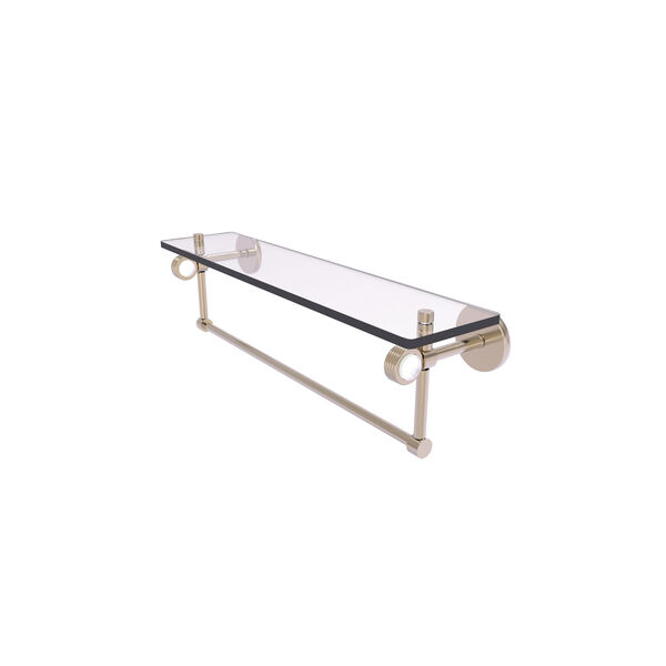 Clearview Antique Pewter 22-Inch Glass Shelf with Towel Bar and Groovy Accents, image 1