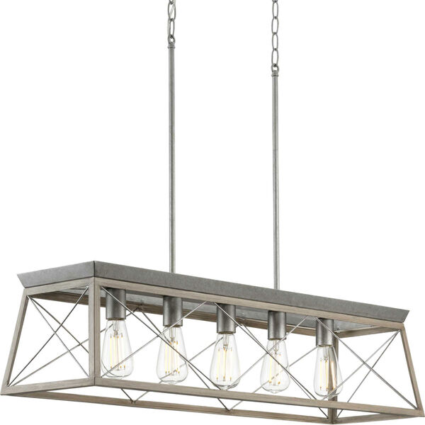 Briarwood Galvanized and Bleached Oak Five-Light Linear Island Chandelier, image 1