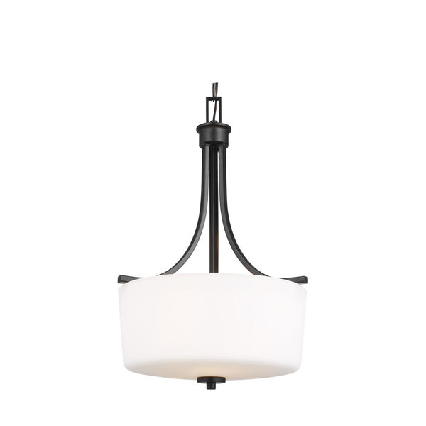 Kemal Midnight Black Three-Light Pendant with Etched White Inside Shade, image 3