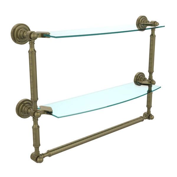 Dottingham Antique Brass Double Shelf with Towel Bar, image 1