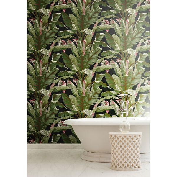 Ashford House Tropics Black and Green Banana Leaf Wallpaper, image 4