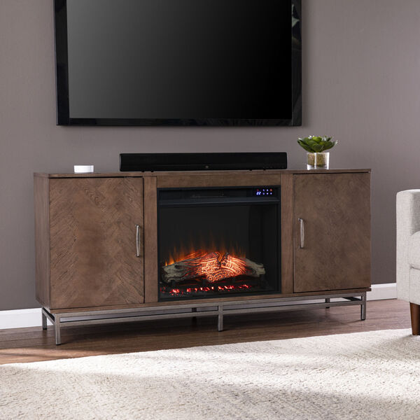 Dibbonly Brown and matte silver Electric Fireplace with Media Storage, image 3