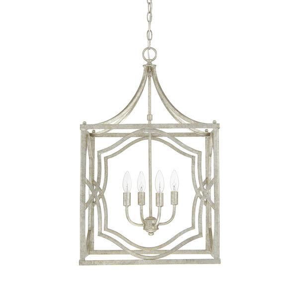 Linden Antique Silver Four-Light Lantern Pendant, image 1