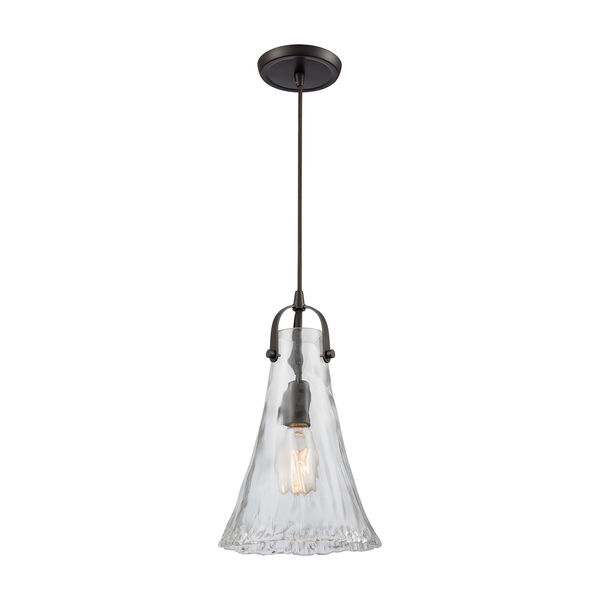 Hand-Formed Glass Oil Rubbed Bronze 15-Inch One-Light Mini Pendant, image 1