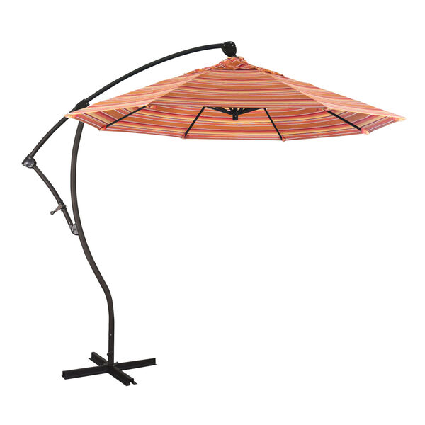 Bayside Bronze with Dolce Mango Nine-Feet Sunbrella Patio Umbrella, image 1