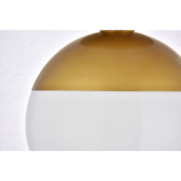 Eclipse Brass and Frosted White 10-Inch One-Light Semi-Flush Mount, image 5