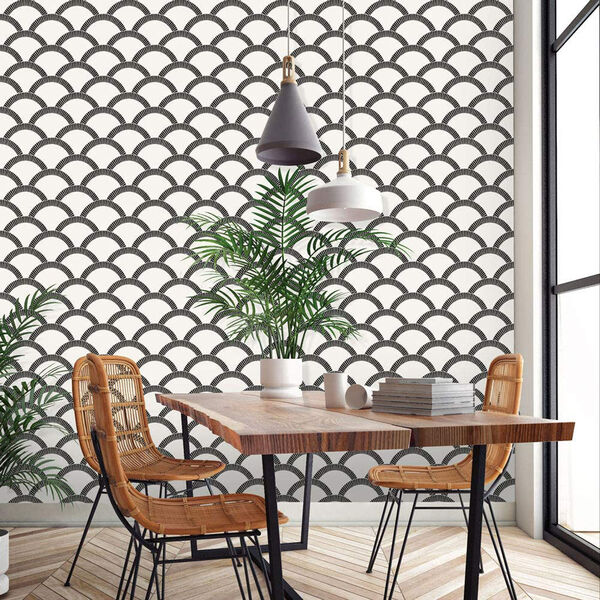 Mosaic Scallop Black and Cream 28 Sq. Ft. Peel and Stick Wallpaper, image 5
