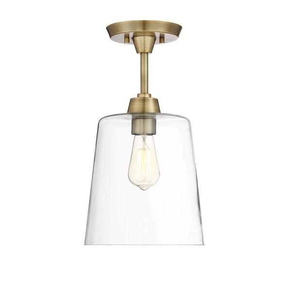 Nicollet Natural Brass 10-Inch One-Light Semi Flush Mount, image 1