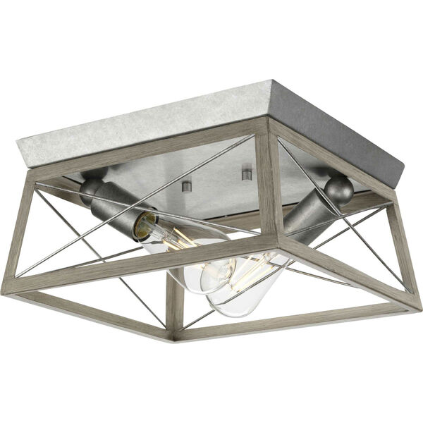 Briarwood Galvanized and Bleached Oak Two-Light Flush Mount Ceiling Light, image 1