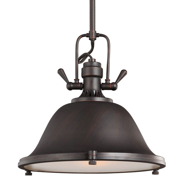 Stone Street Bronze One-Light Pendant with Satin Etched Glass Diffuser, image 1