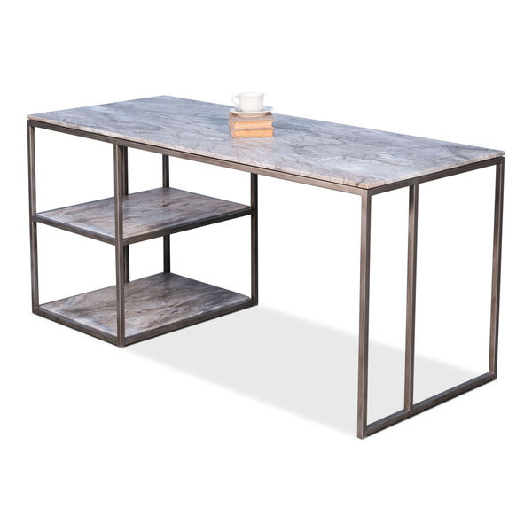 Silver Open Desk With Shelves, image 3